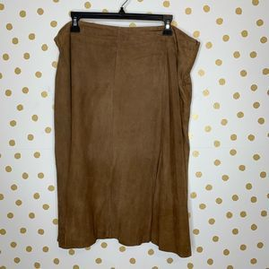 Eileen Fisher Goat Suede Flare Skirt Brown 1X